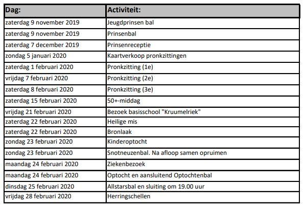 Programma Spurriebuuken 2019-2020