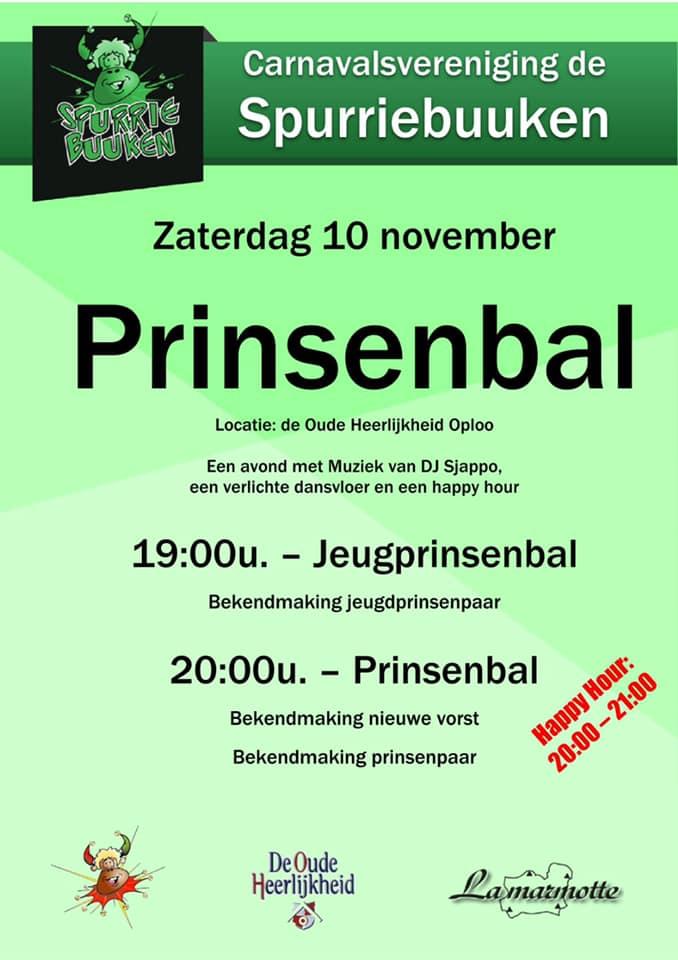 Programma prinsenbal Spurriebuuken zaterdag 10 november 2018
